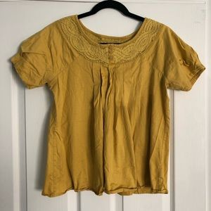 DELETTA for ANTHROPOLOGIE Mustard Yellow Blouse M